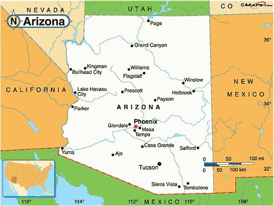 map of arizona cities maps