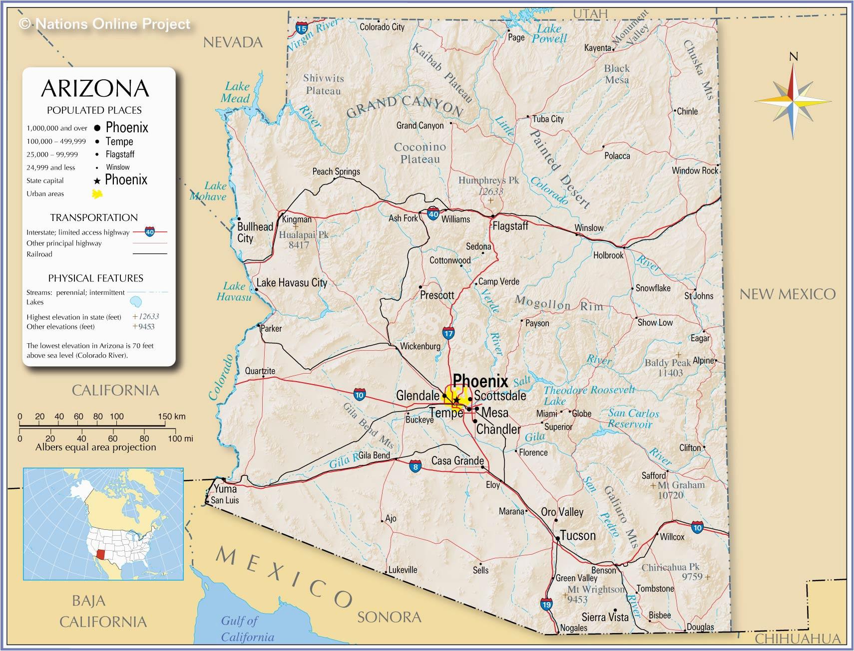 reference maps of arizona usa nations