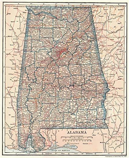 1928 antique alabama state map original vintage map of