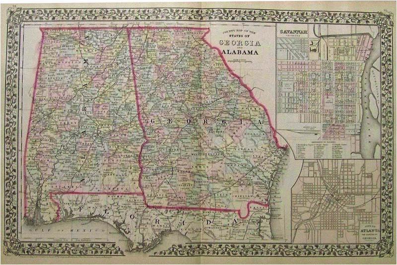 prints old rare alabama antique maps prints