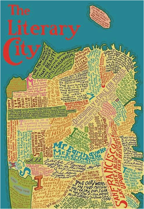 the literary map of san francisco laser cut wooden jigsaw puzzle in