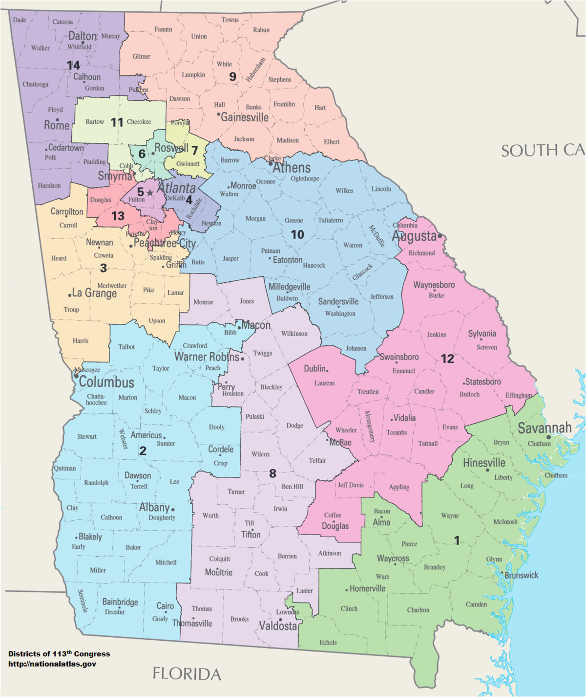 Zip Code Map Of Georgia.Atlanta Georgia Zip Code Map Georgia S Congressional Districts