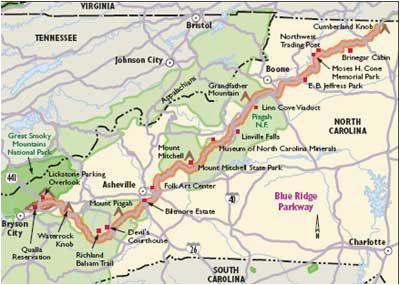 Blue Ridge Mountains north Carolina Map | secretmuseum