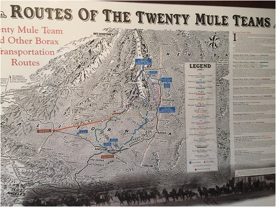 map of the desert routes used by the mule teams picture of borax