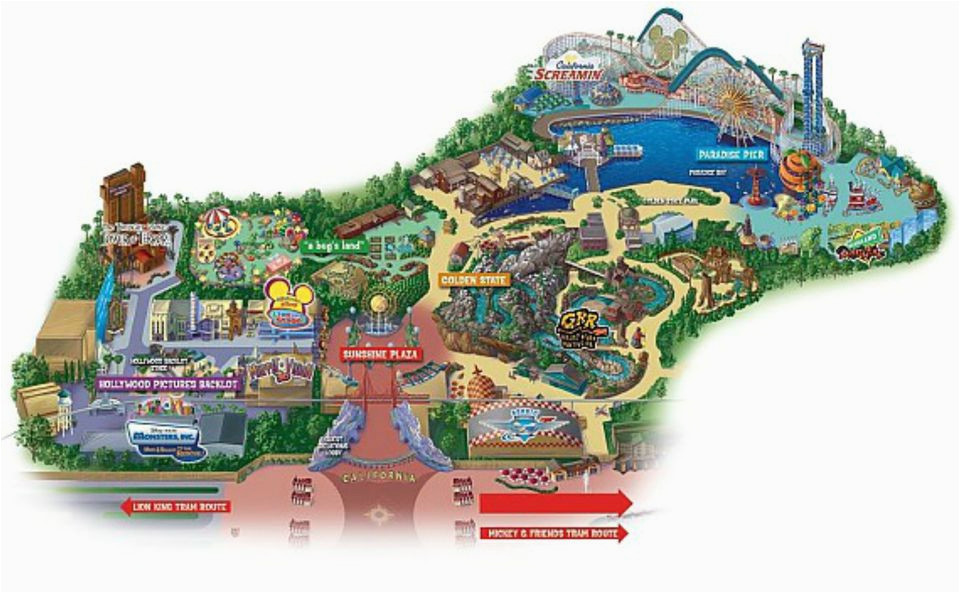 California Adventure Map with Cars Land