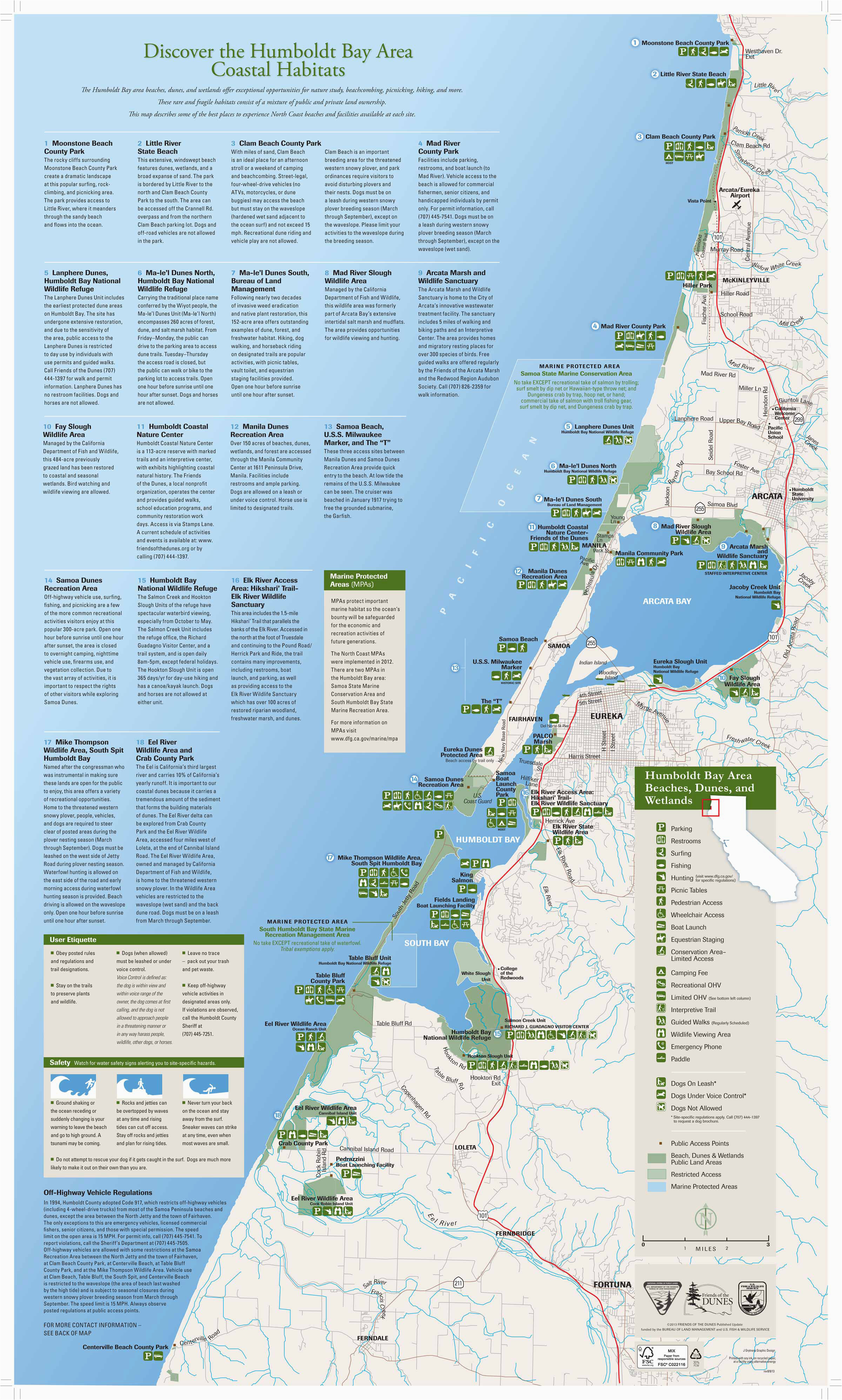 California Beach towns Map California Coastal towns Map Detailed Friends Of the Dunes Humboldt
