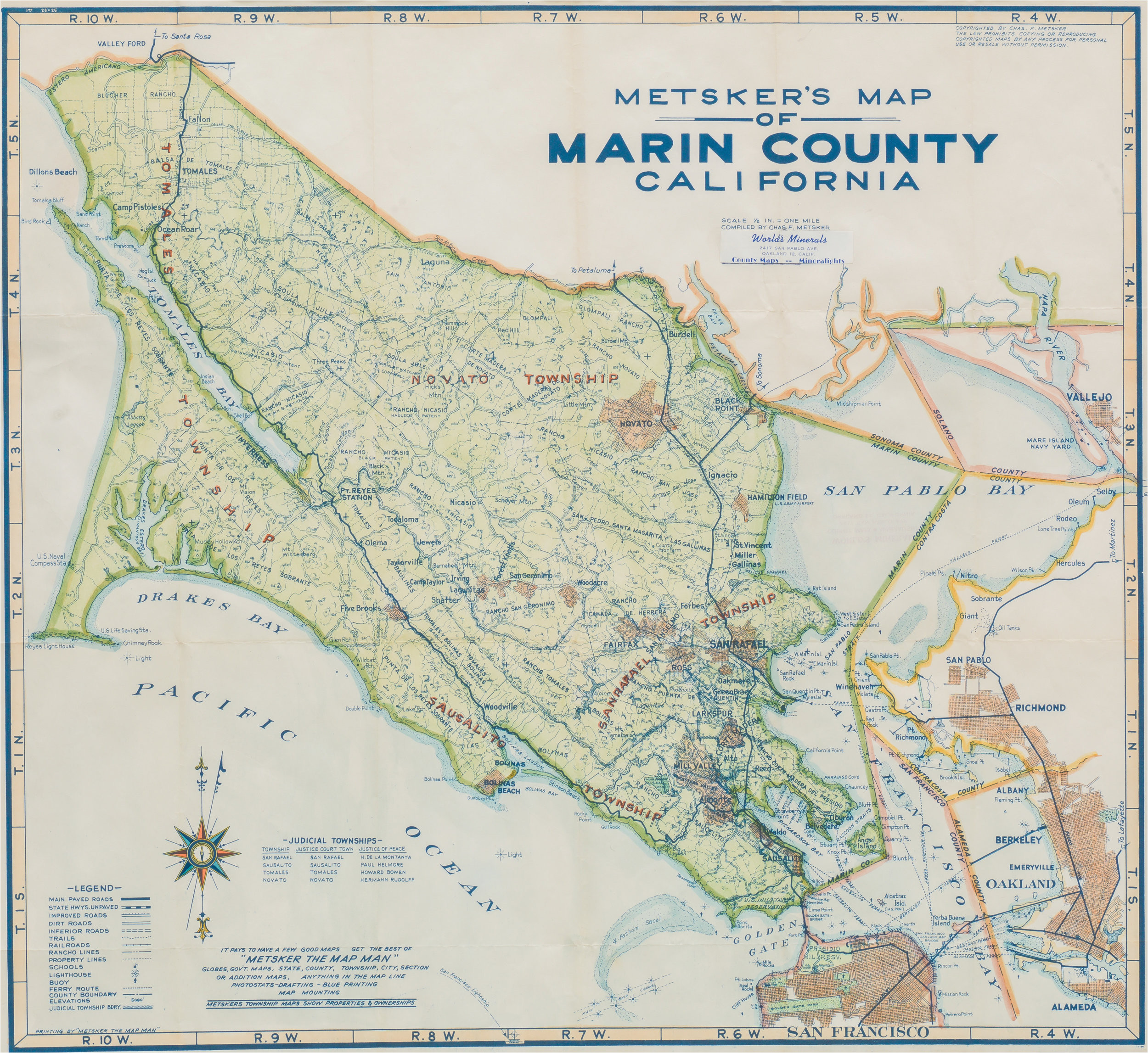 1948 metsker map of marin county california neatline antique maps