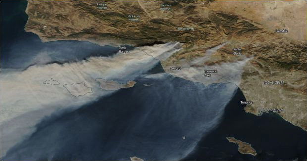 this map shows where 5 of southern california s biggest wildfires