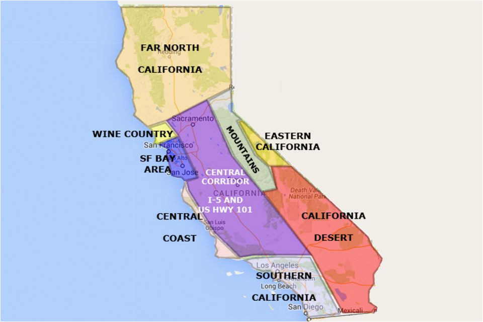 best california state by area and regions map