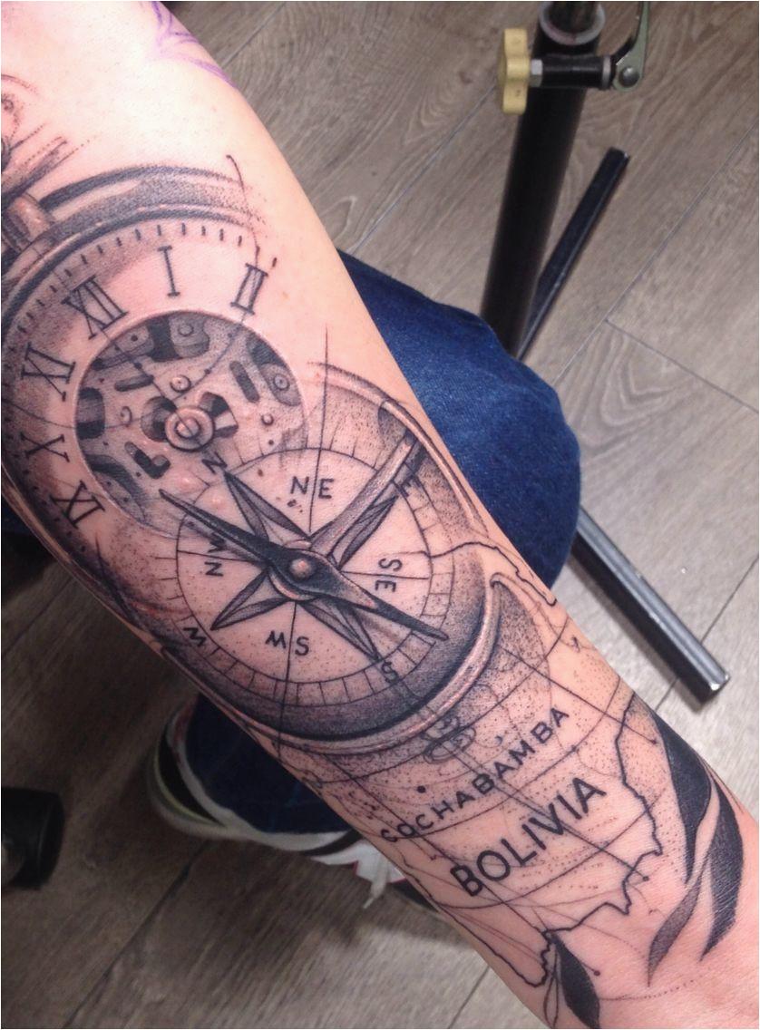 tattoo ink compass pocket watch map bolivia tattoo ideas