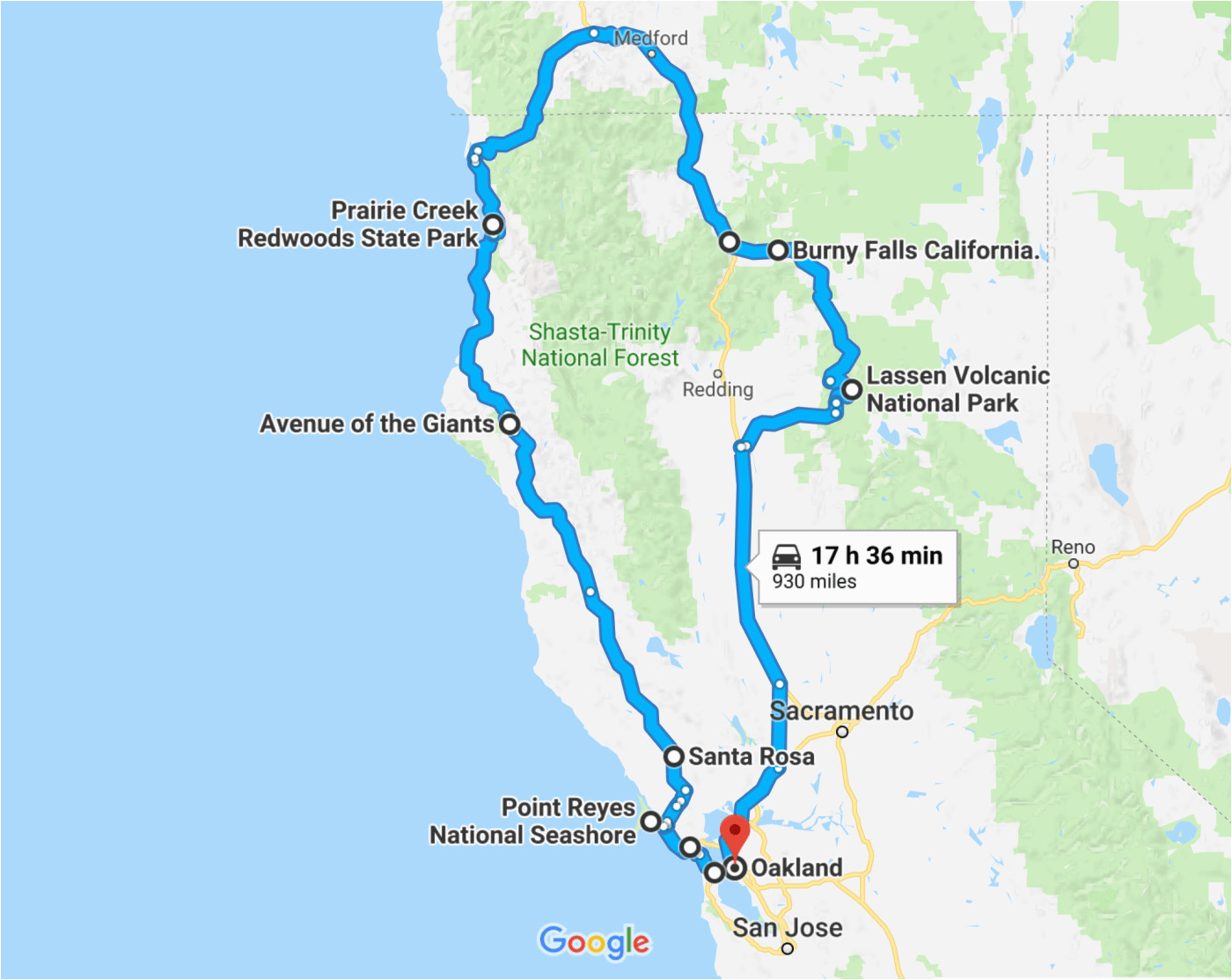 California Road Trip Trip Planner Map the Perfect northern ... on