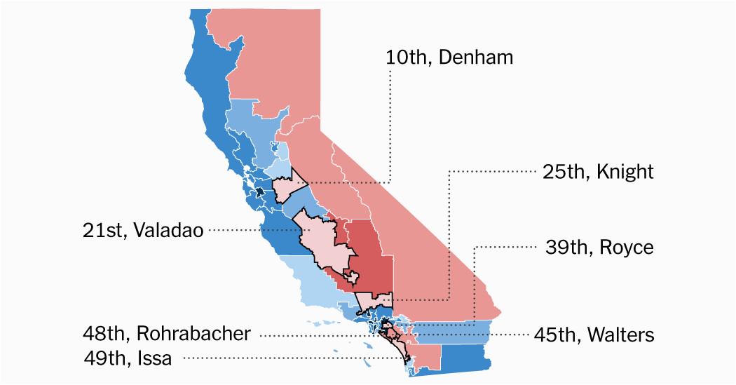 seven republican districts in california favored clinton can