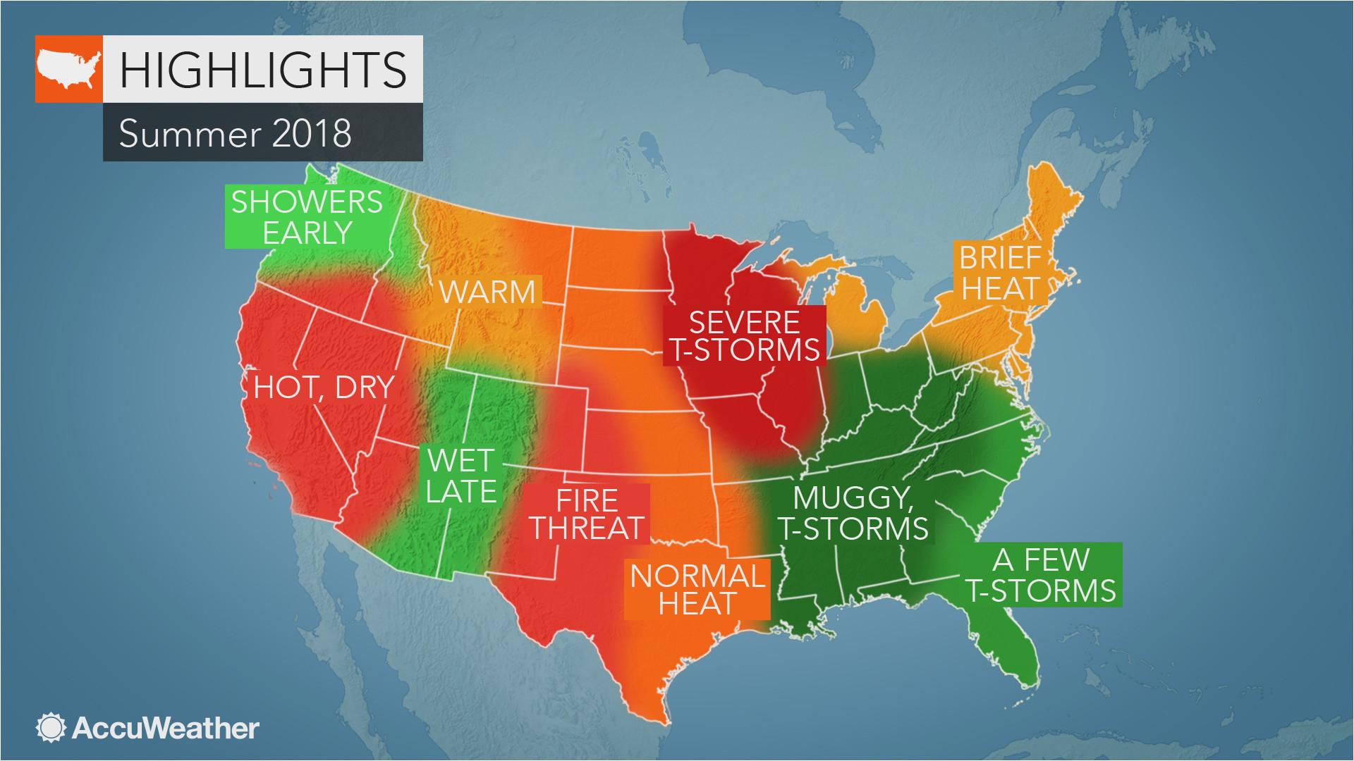 California Weather Map Temperature 2018 Us Summer forecast ...