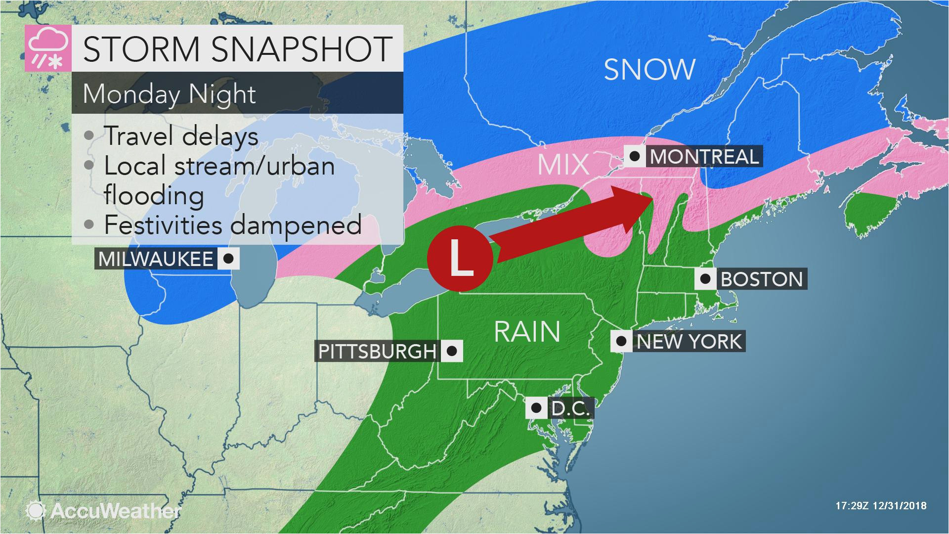 rainstorm mild air to close out 2018 and begin 2019 in northeastern us