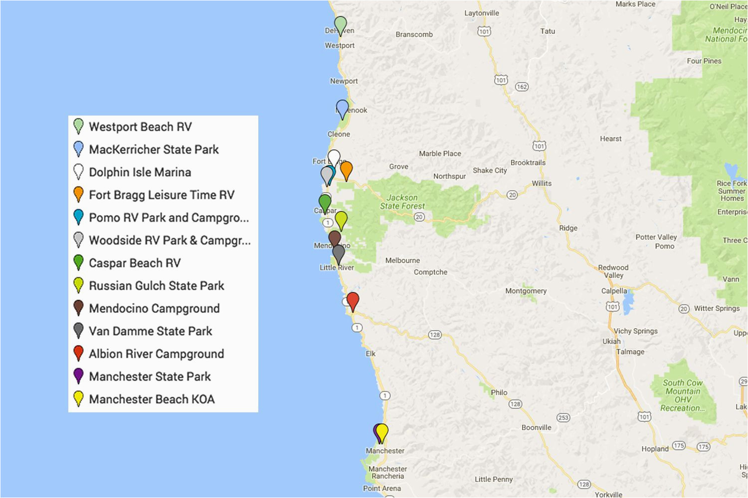 mendocino camping and campgrounds best places