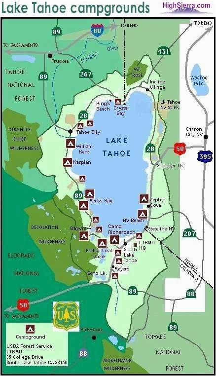 lake tahoe camping map campinglocation camping supplies lake