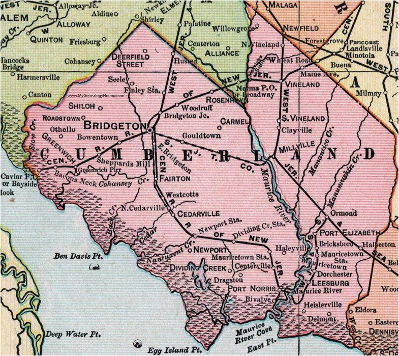 Cedarville Ohio Map Cumberland County New Jersey 1905 Map Bridgeton Millville