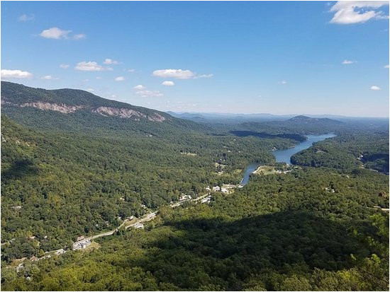 view of lake lure from the top of chimney rock picture of chimney