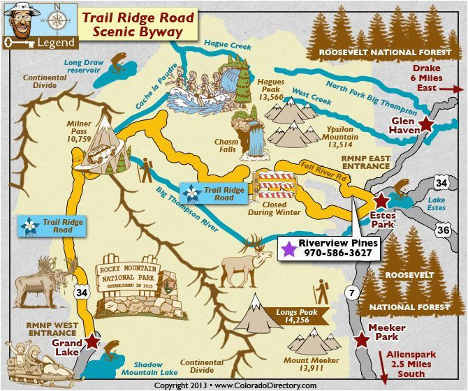 Colorado 13ers Map Trail Ridge Road Scenic byway Map ...