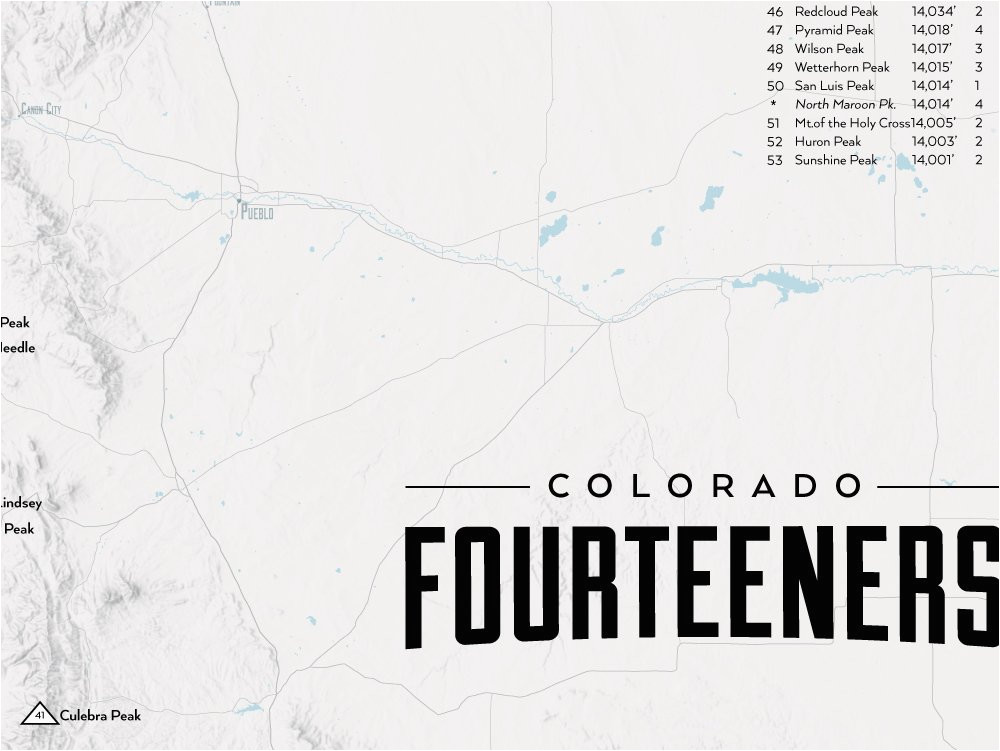 Colorado Fourteeners Map Amazon Com Best Maps Ever 58 ...