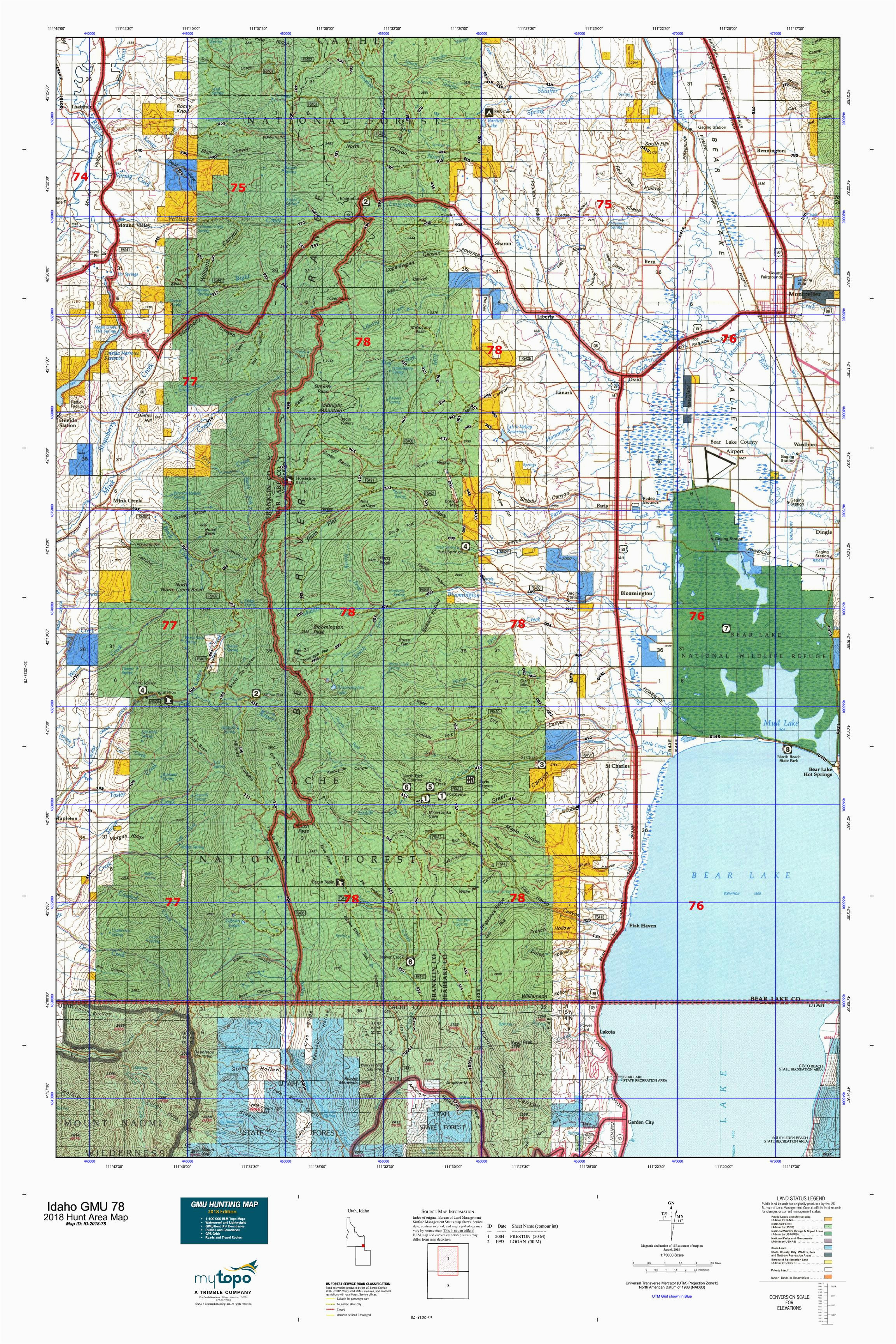 idaho gmu 78 map mytopo