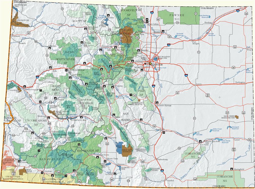 Colorado Mountain Peaks Map Colorado Dispersed Camping