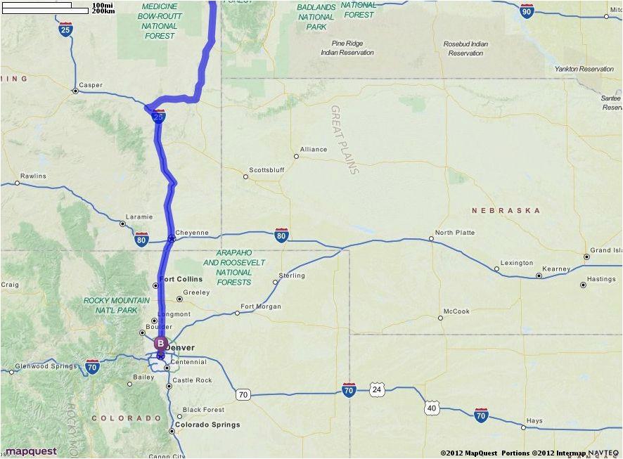driving directions from bismarck north dakota to denver colorado