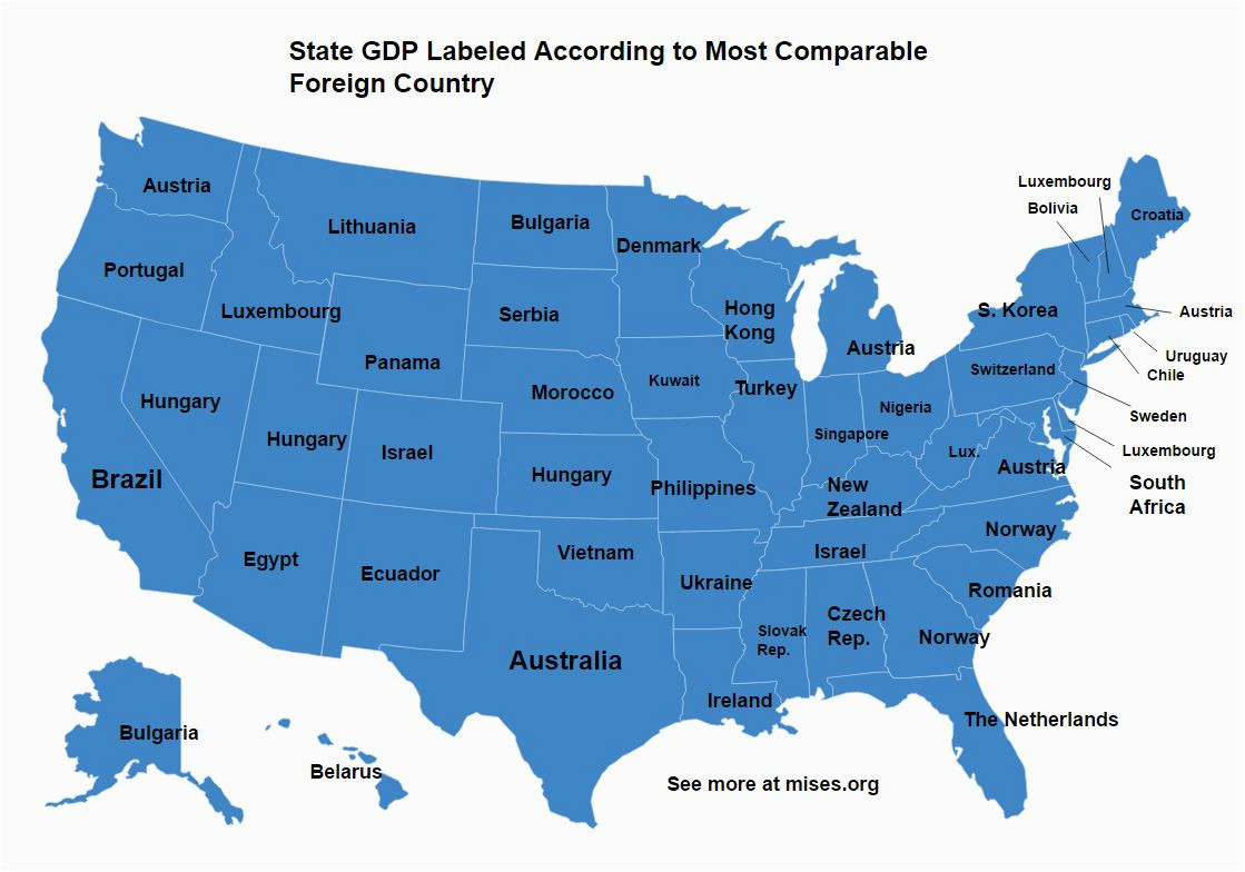 how us states compare to foreign countries in size and gdp mises wire