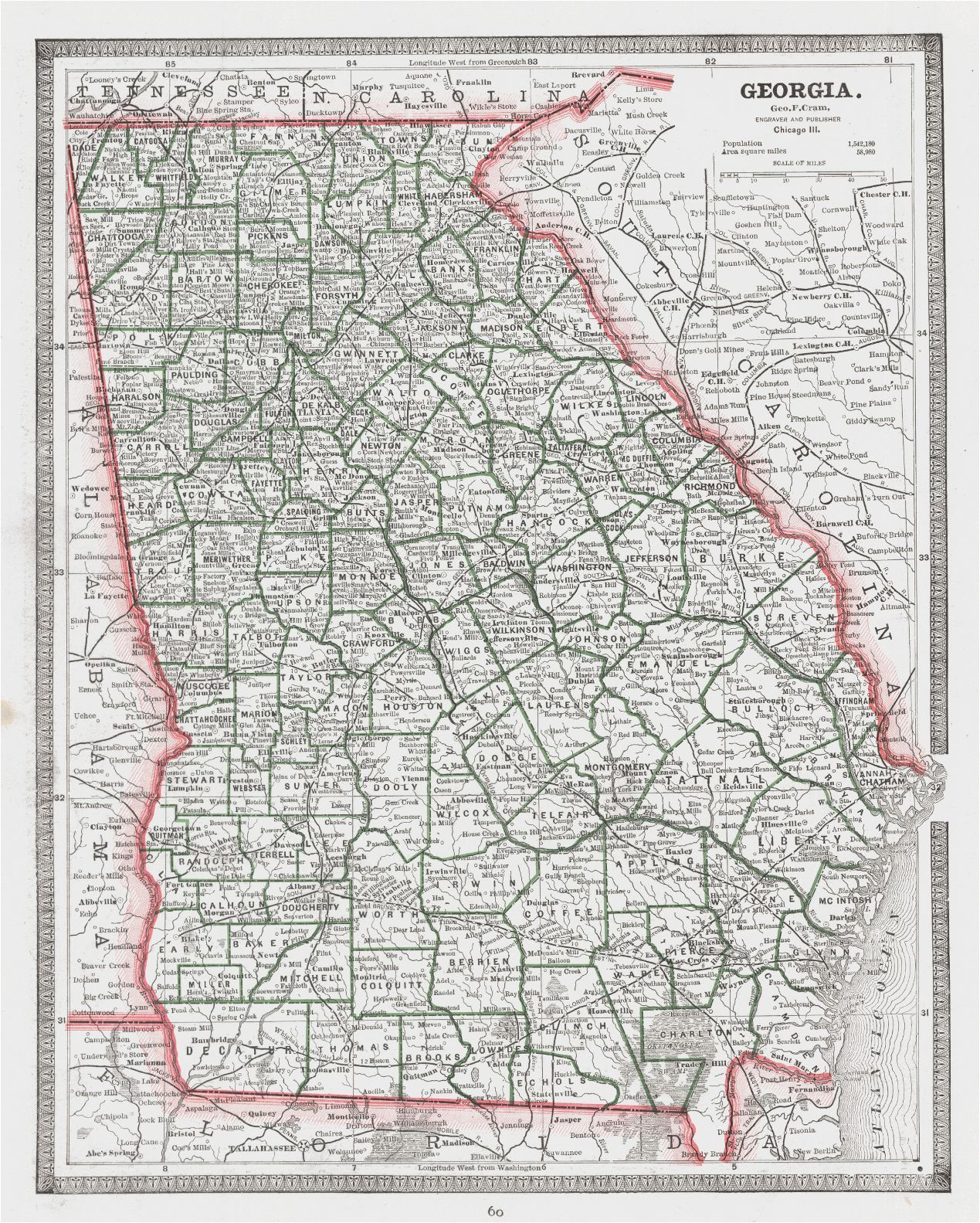 map antique georgia 1887 george f cram detailed map showing