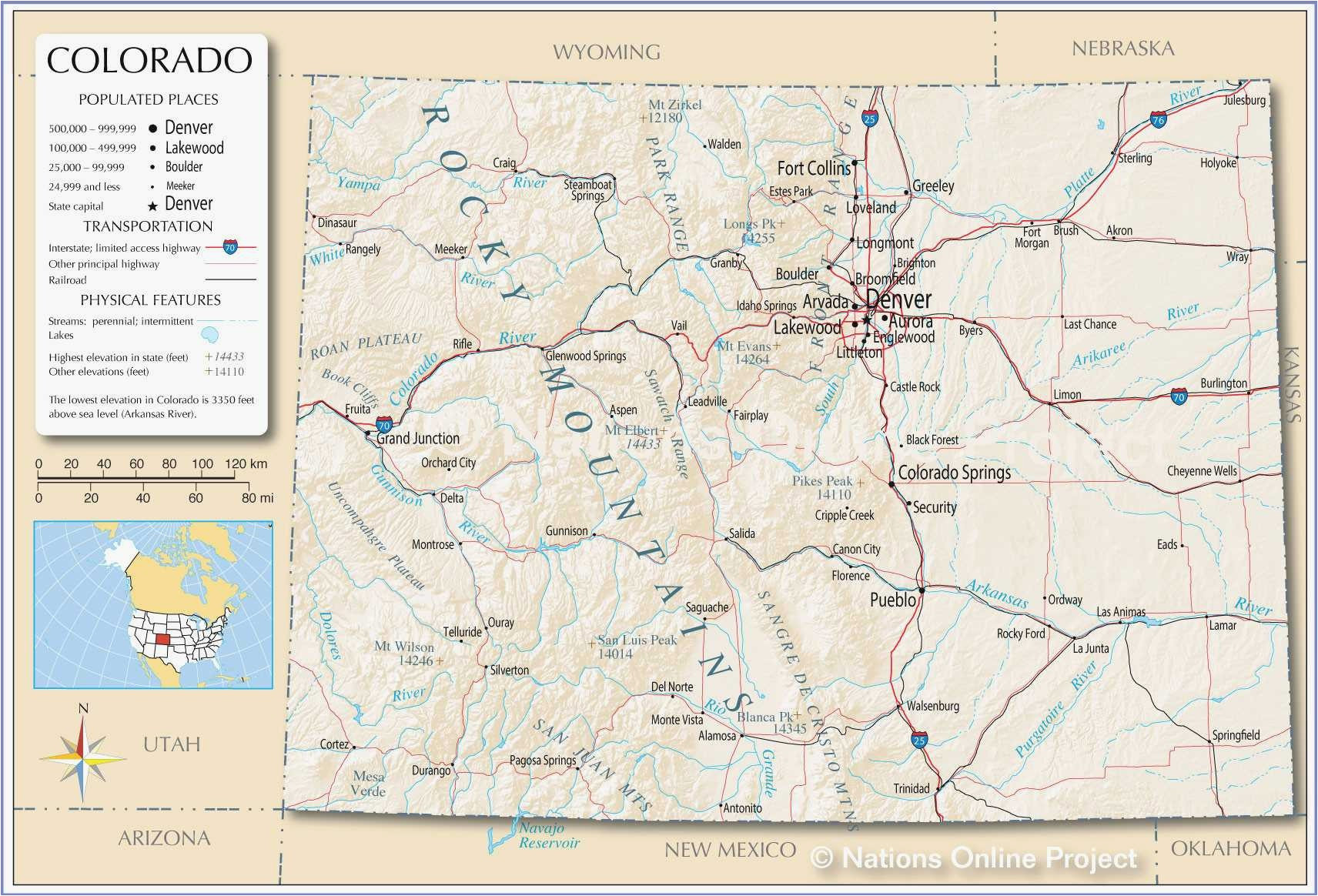 united states map showing colorado refrence denver county map