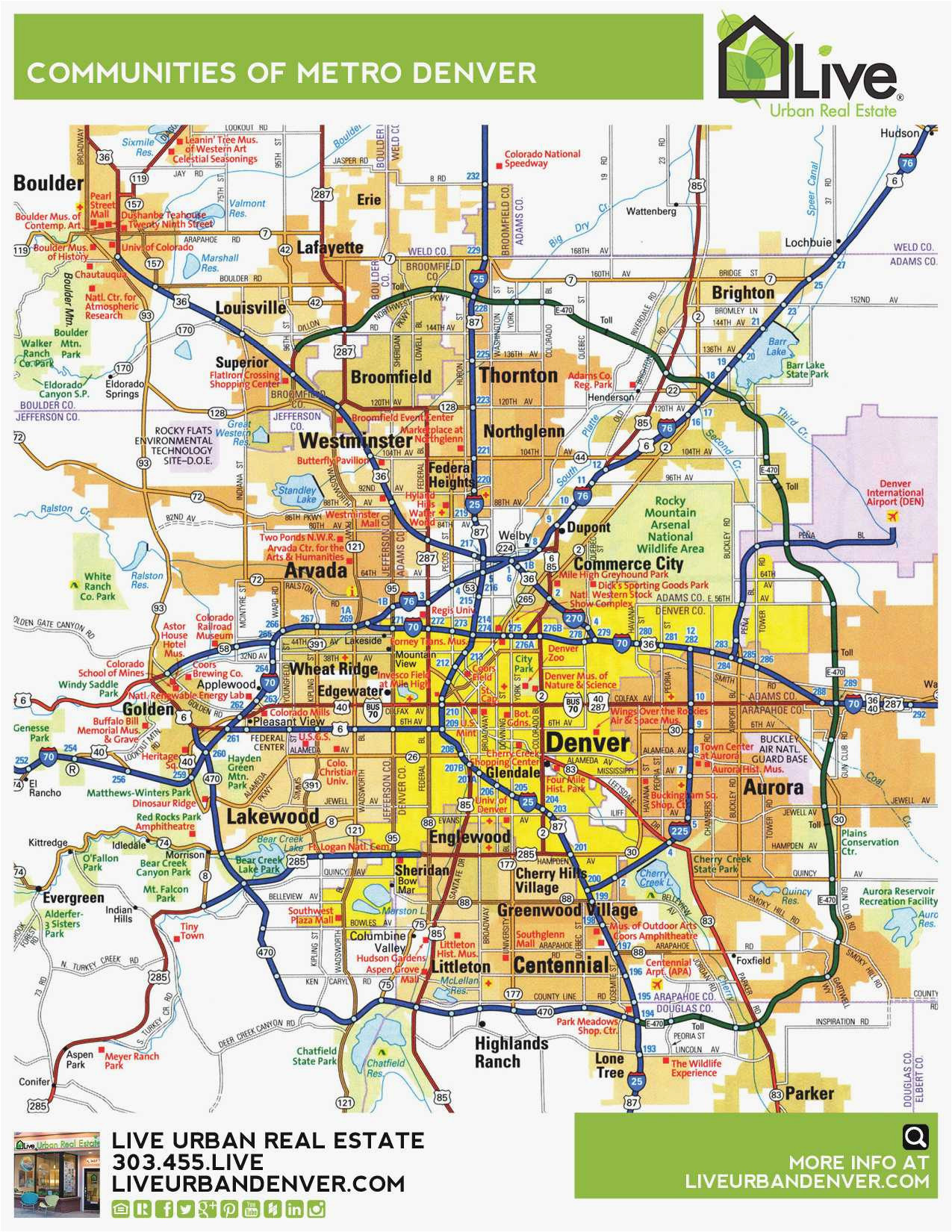 Denver Colorado Suburbs Map Denver Metro Map Unique Denver ...