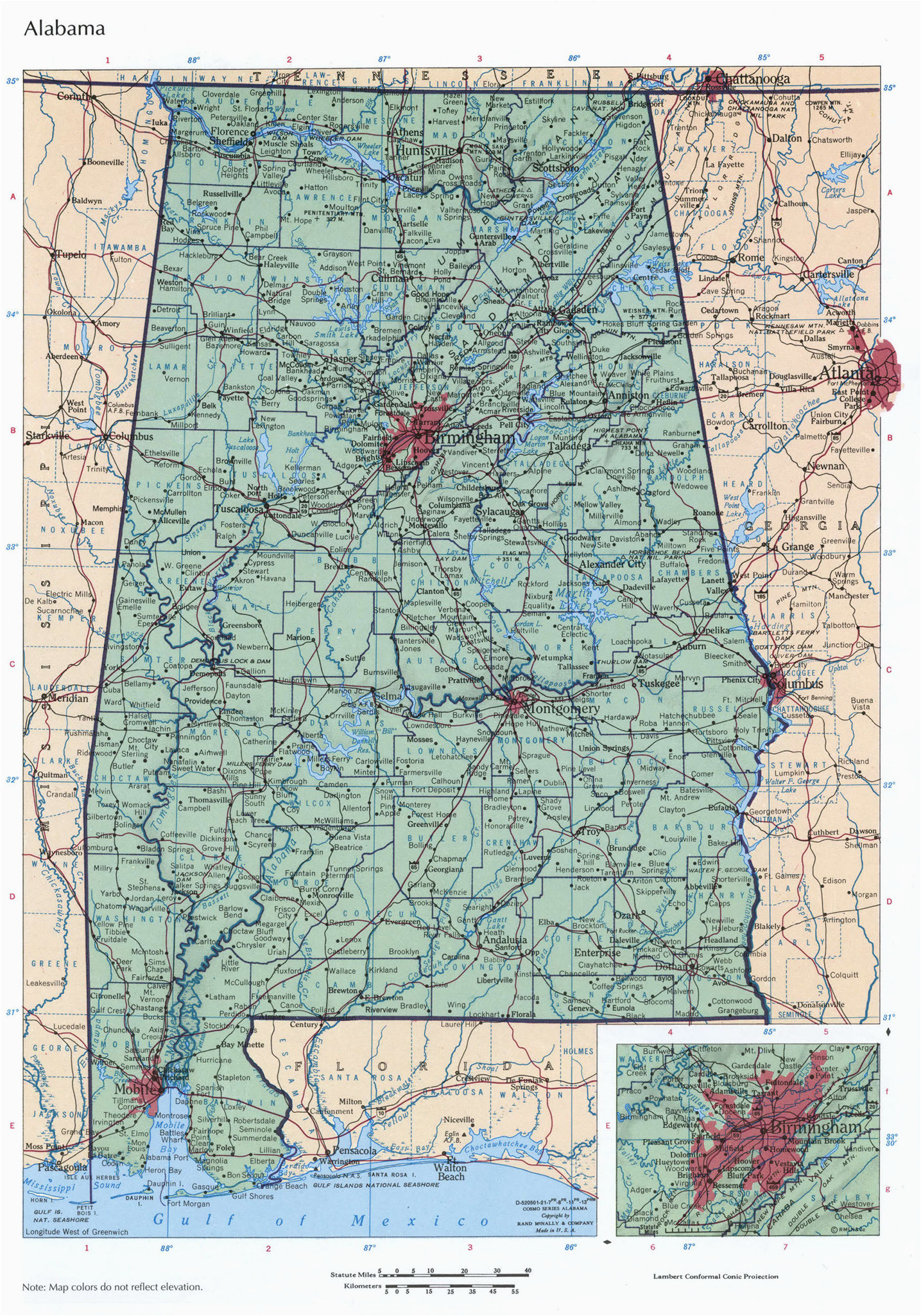 al physical lg detail map of geographic map of alabama kolovrat org