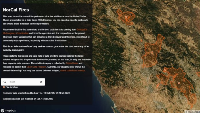 mapbox releases new map to track fires in northern california and