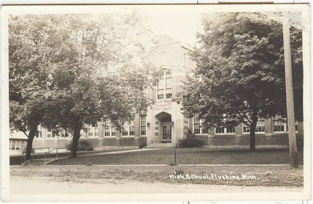 flushing michigan us usa postcard rppc high school 1943 michigan