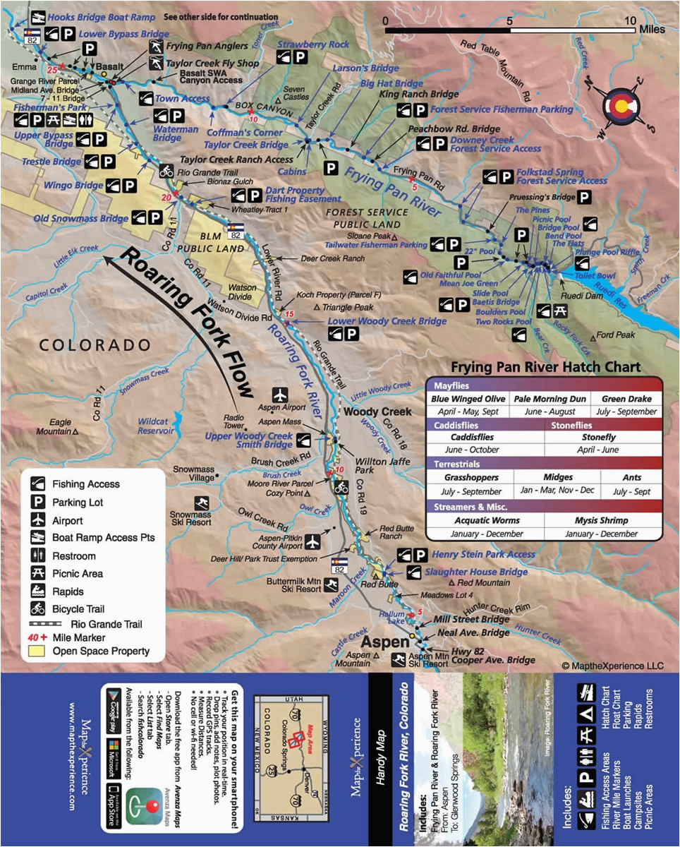 roaring fork river fishing map