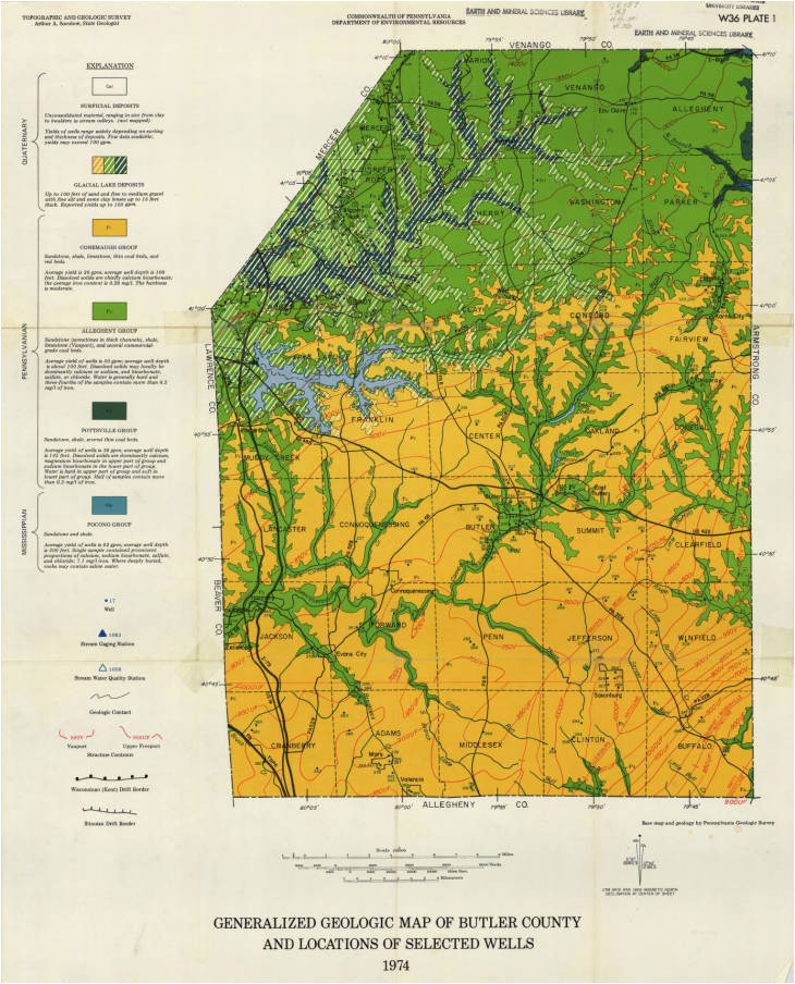 Geologic Map Of Michigan Generalized Geologic Map Of butler County and Locations Of Selected
