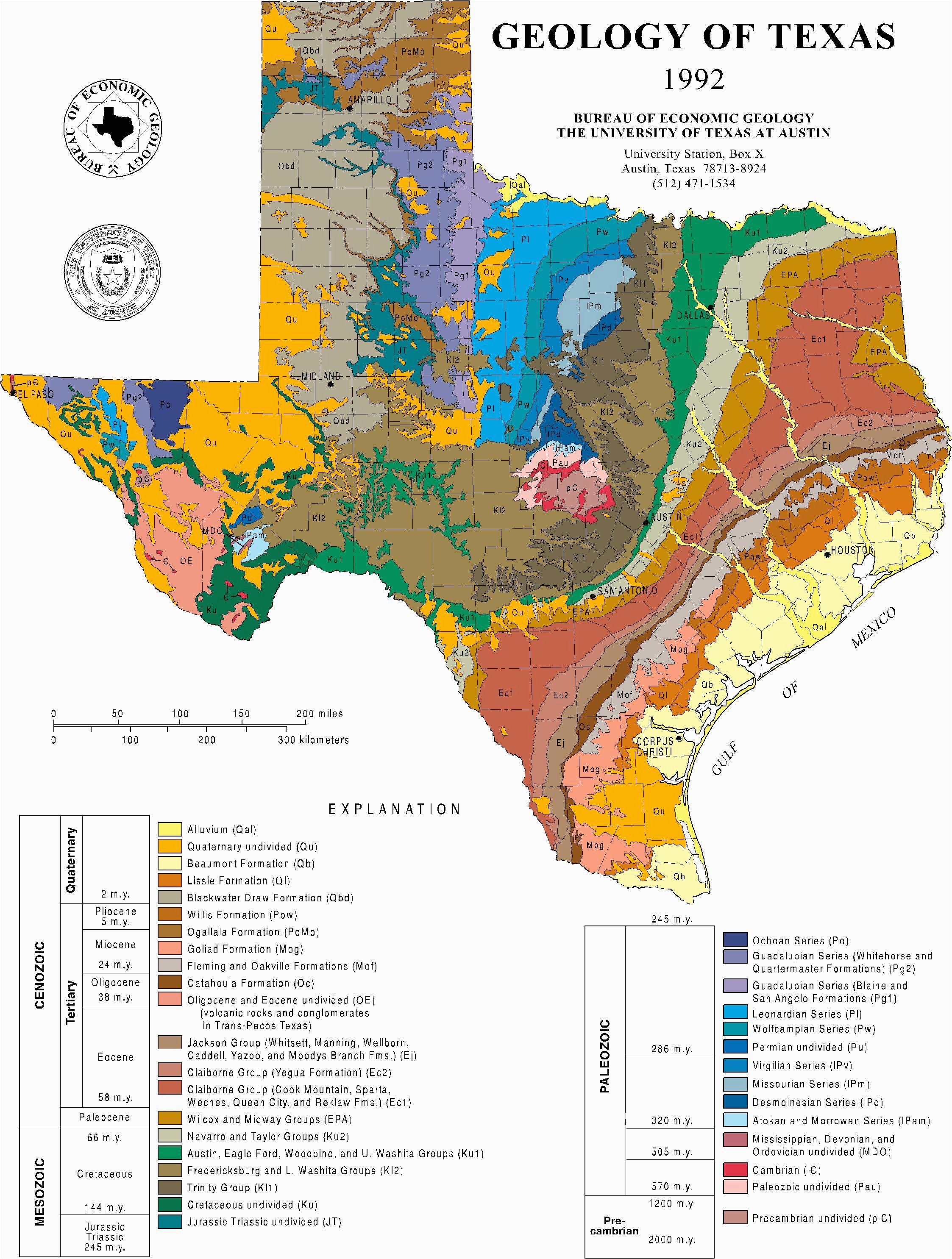 1992 geologic map of texas geography geology in 2019 geology