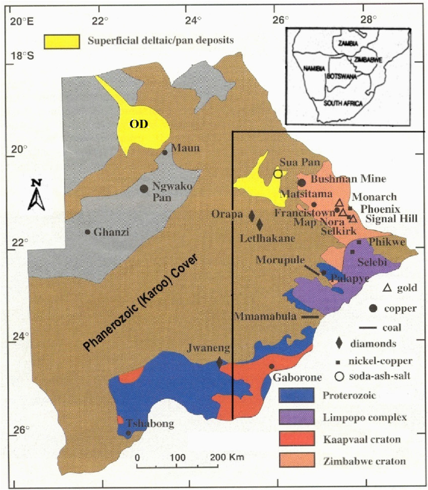 outline geology of botswana showing the study area and main mineral
