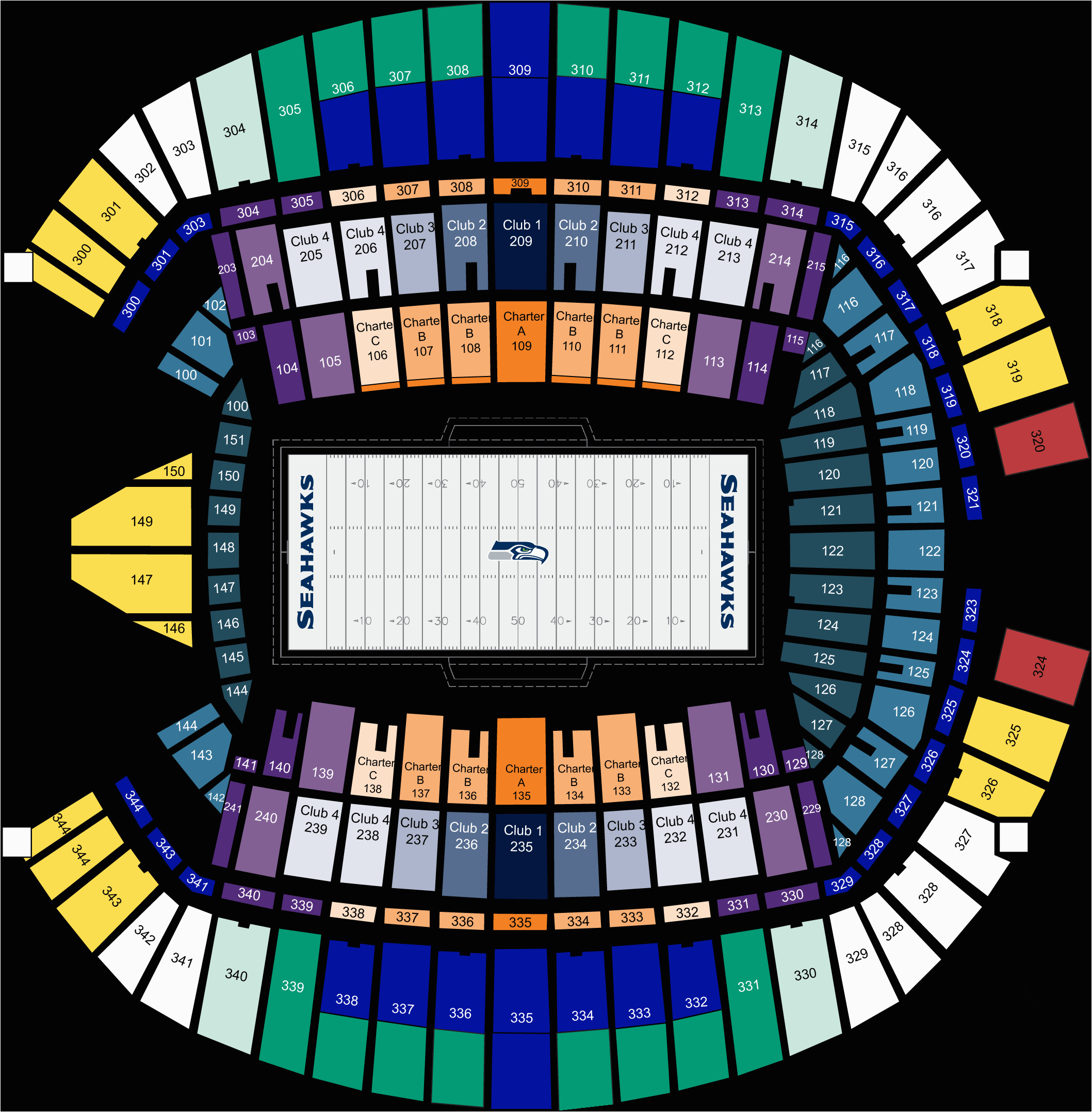 Georgia Dome Seat Map Seattle Seahawks Seating Chart At Centurylink