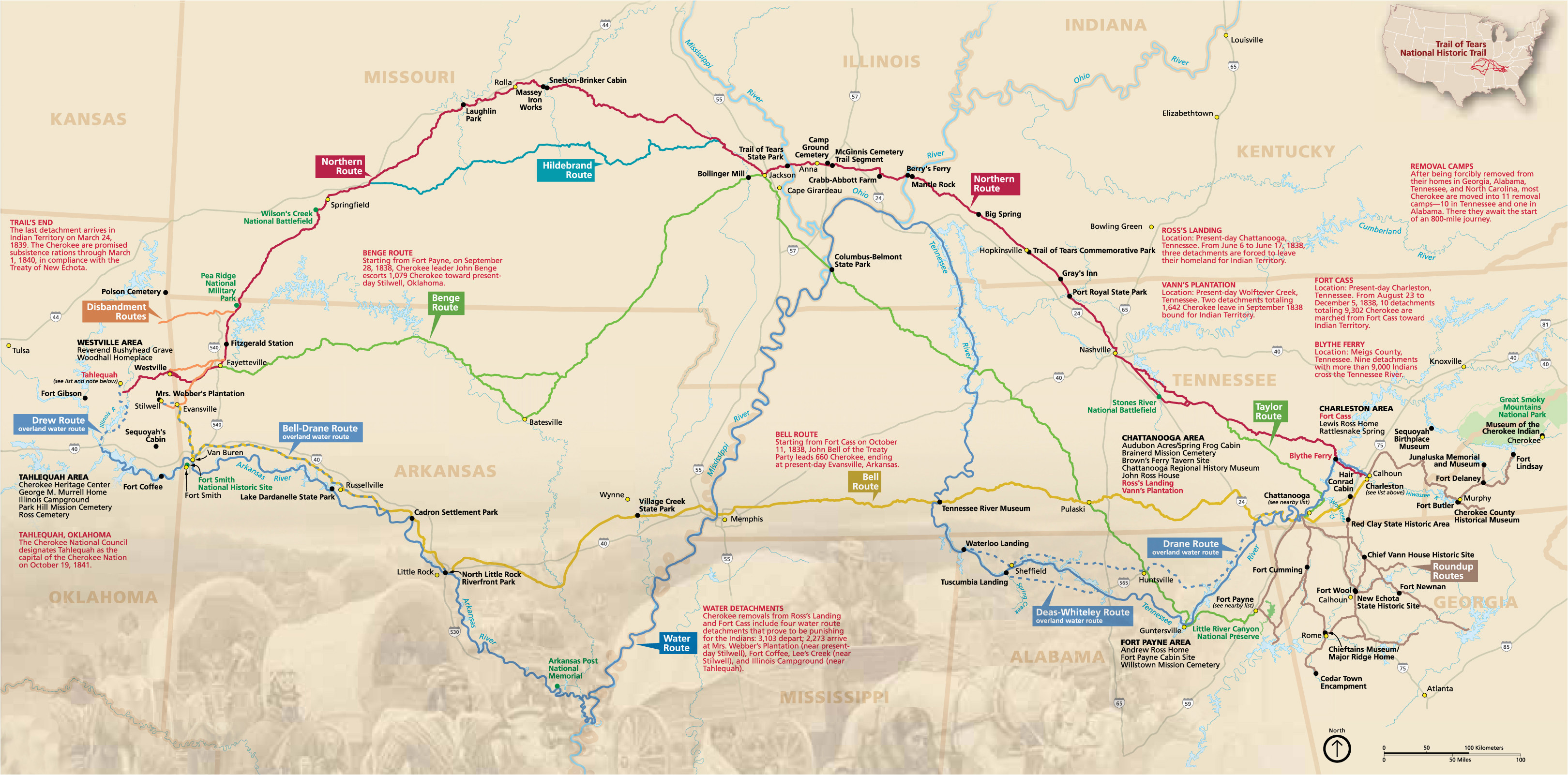 maps trail of tears national historic trail u s national park