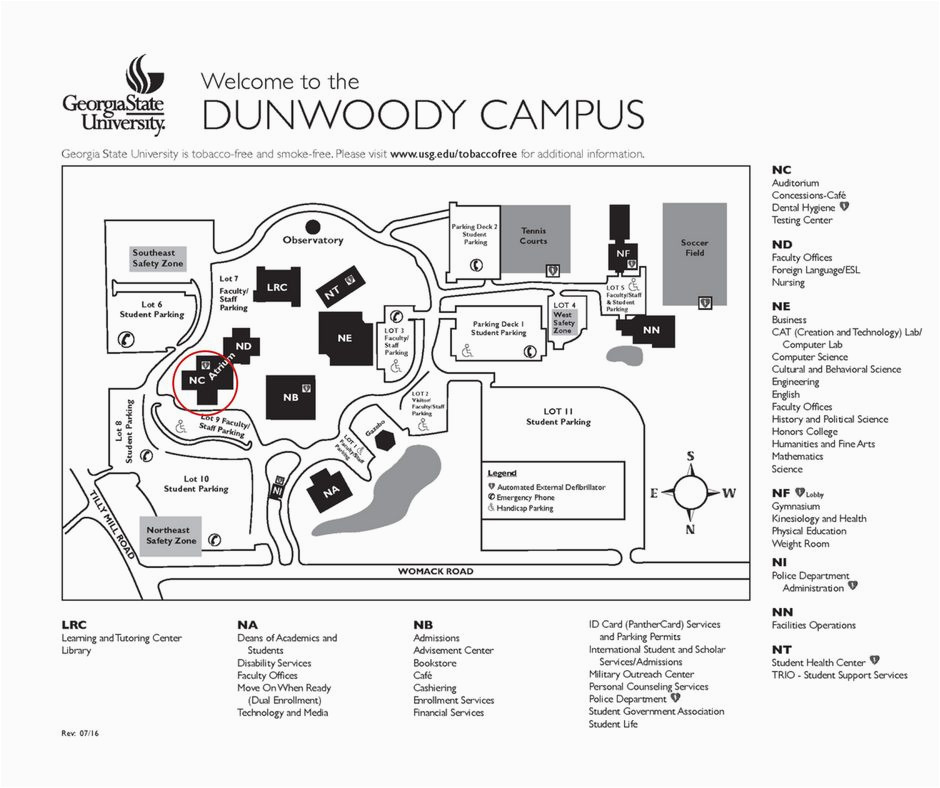 photograph about University of Arizona Campus Map Printable called Ga Perimeter Faculty Dunwoody Campus Map Remarkable