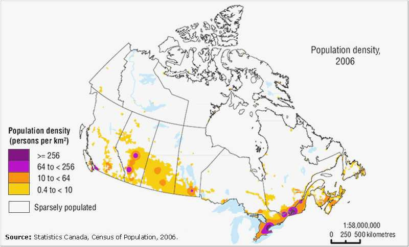 canada population density map fresh canada population density map
