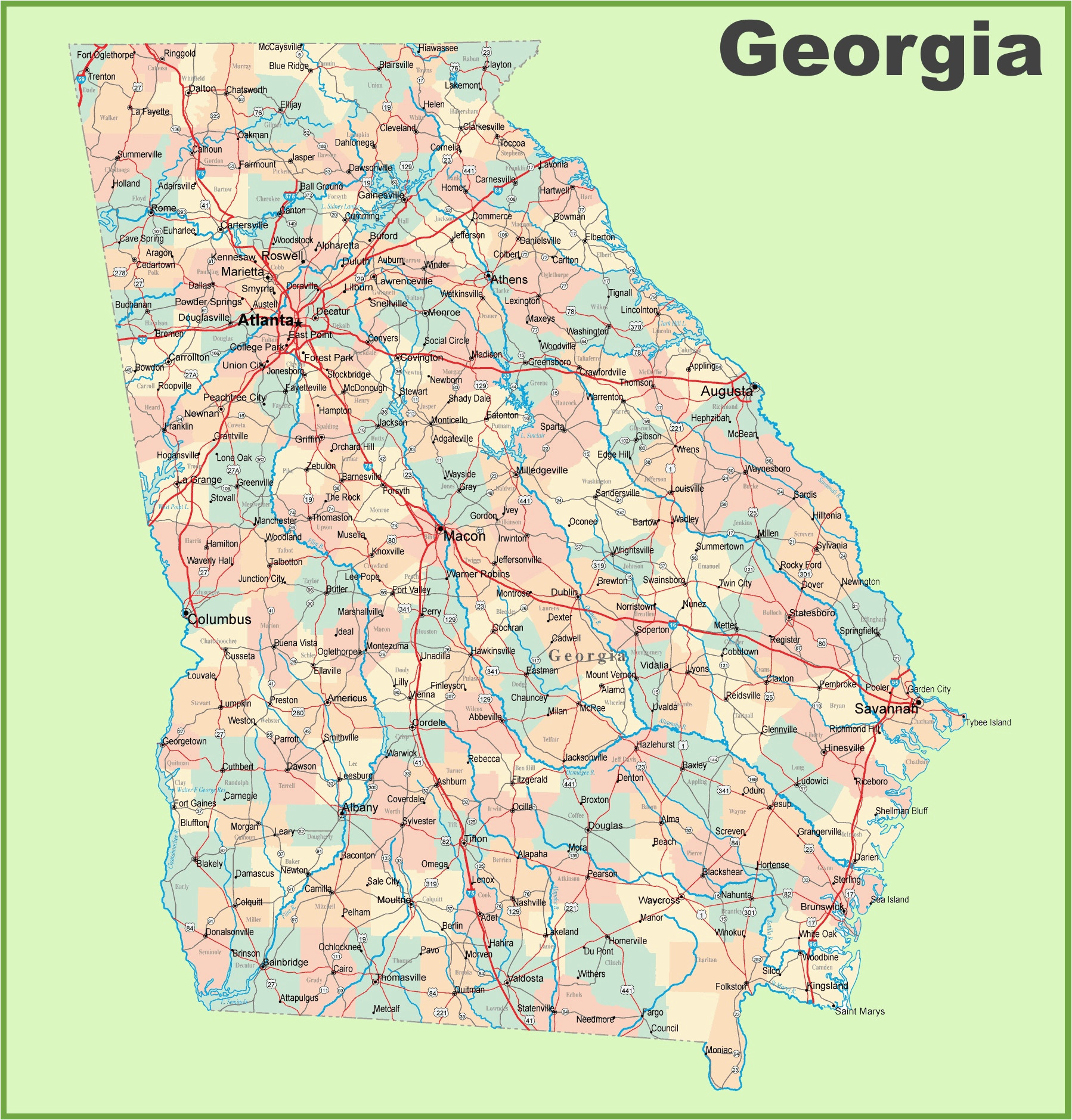 georgia road map with cities and towns
