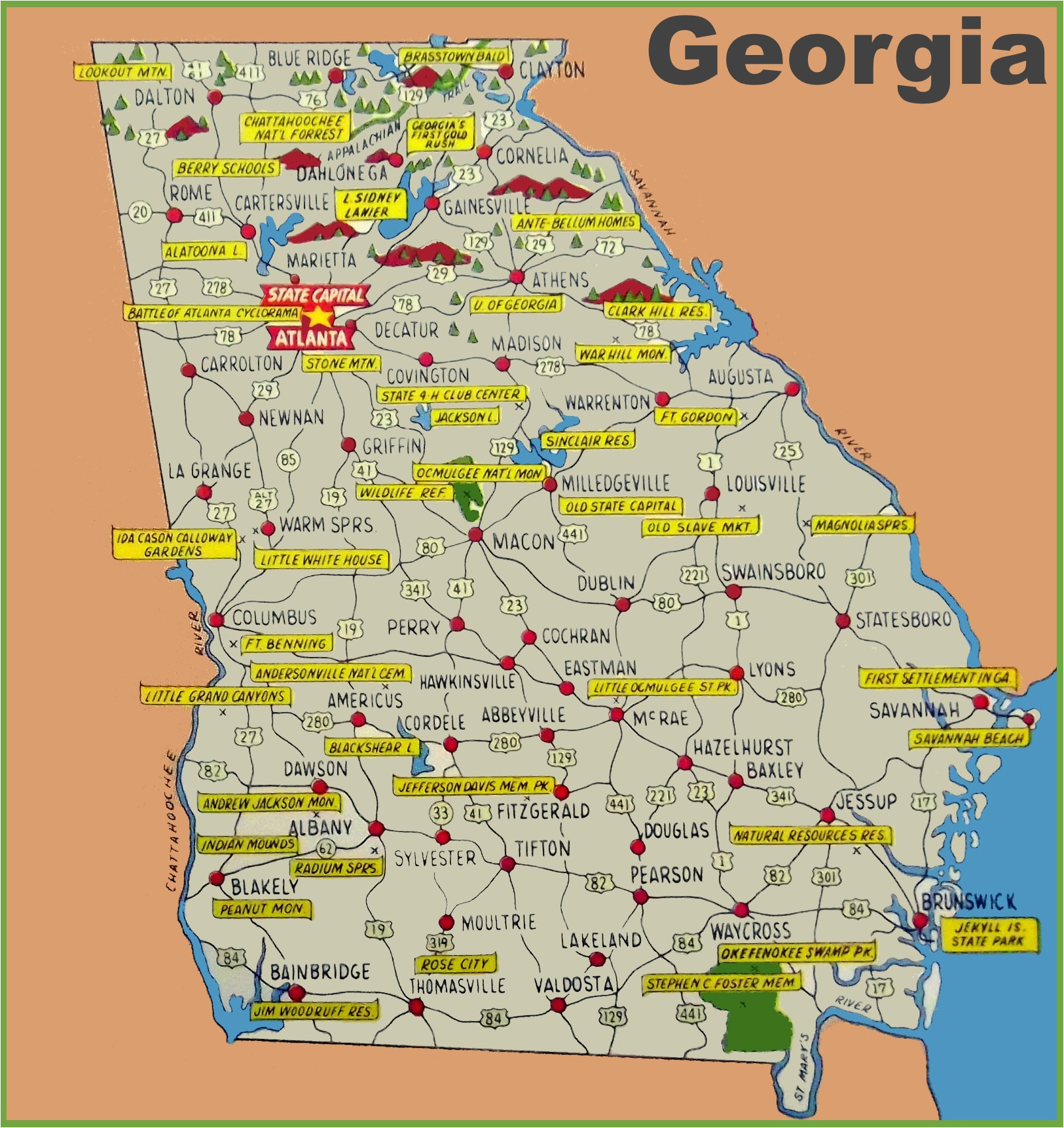 Georgia State Map Printable Georgia State Maps Usa Maps Of ...