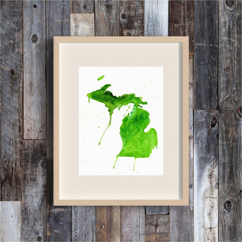 great lakes state michigan watercolor map art print michigan