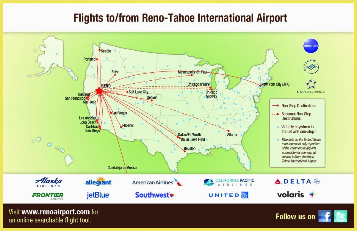 flight info non stop destinations reno tahoe international airport