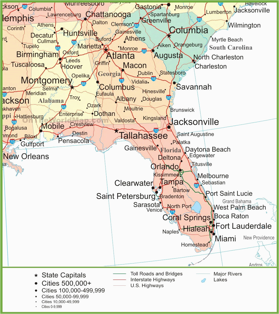 us map with highways map of alabama georgia and florida world