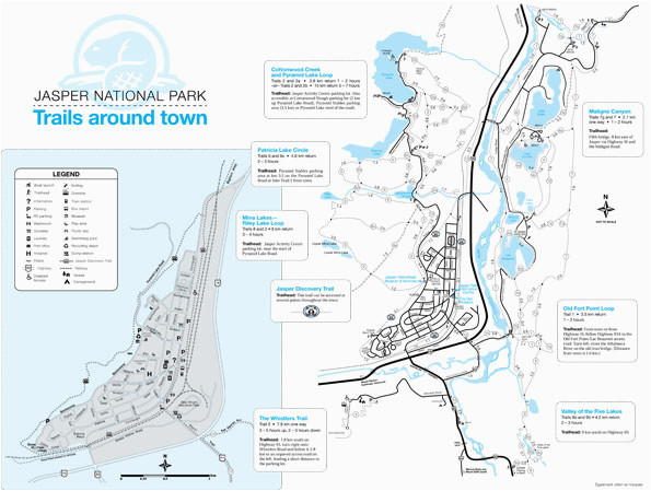 map of jasper national park points of interest jasper national park