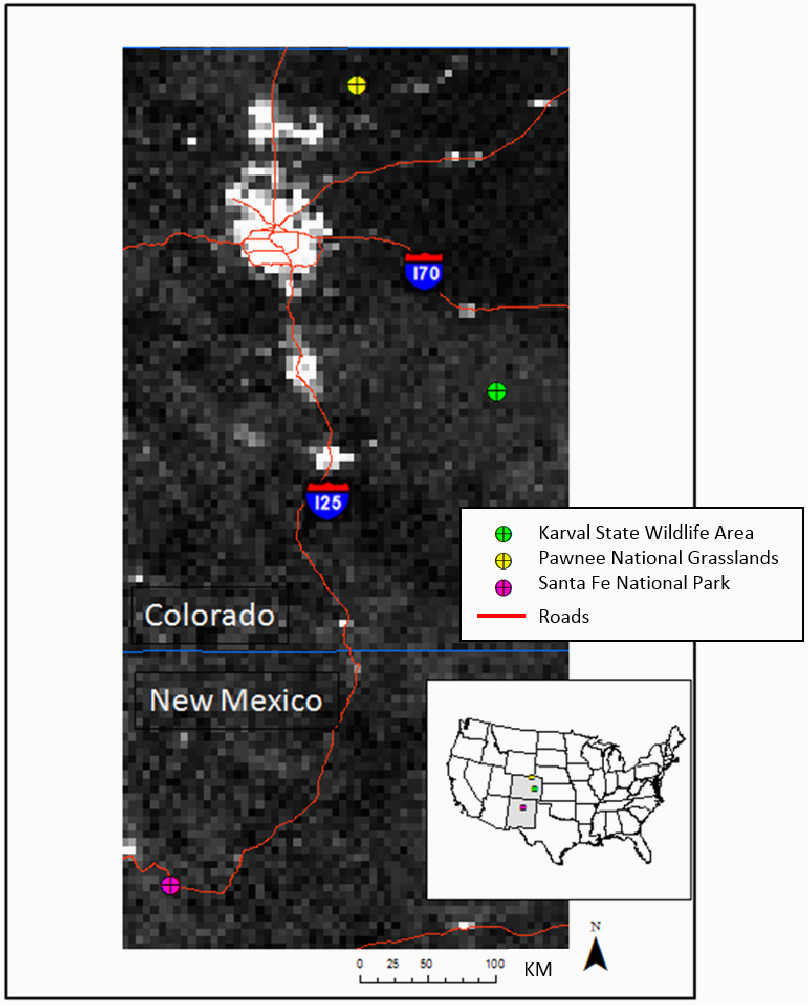 map of the three field sites in colorado and new mexico with a