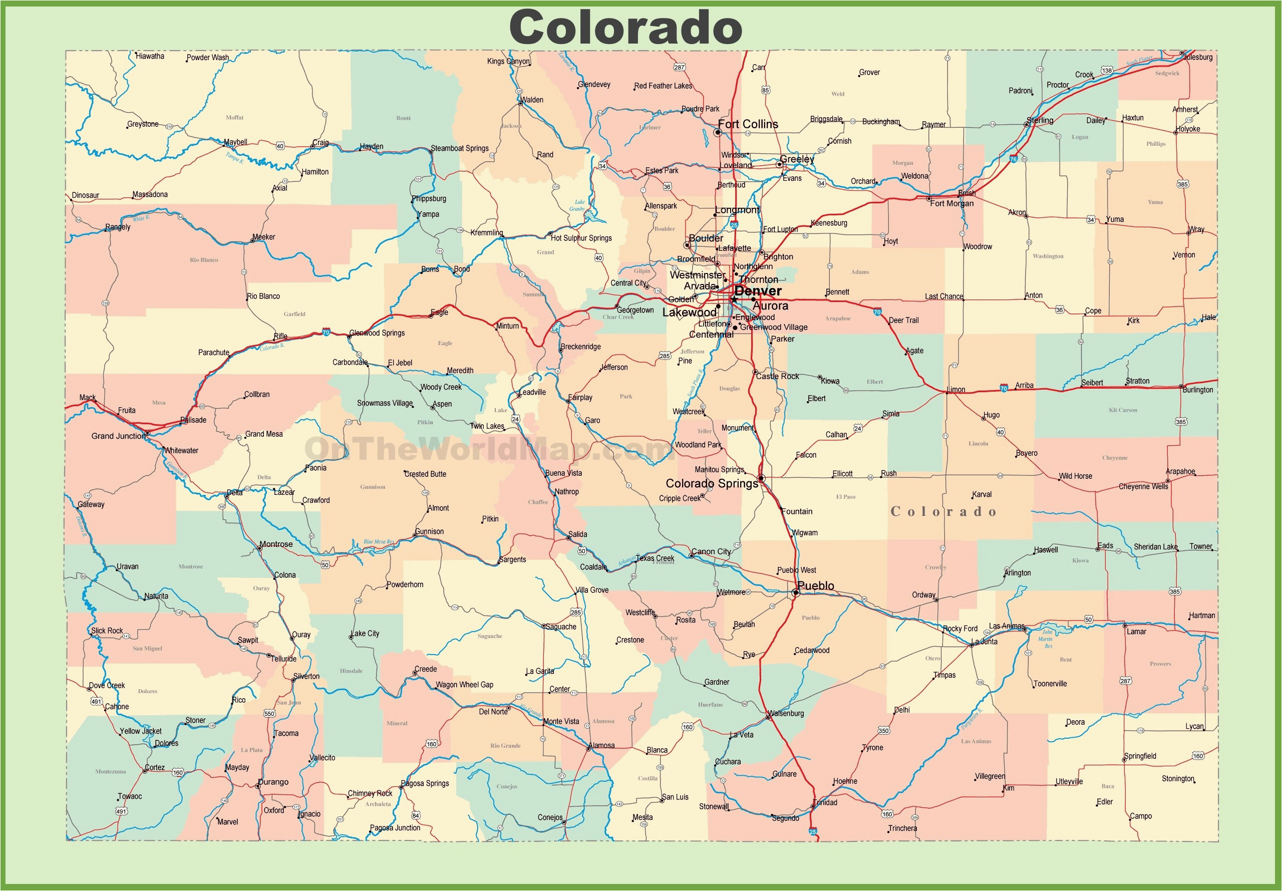 map of colorado towns maps directions